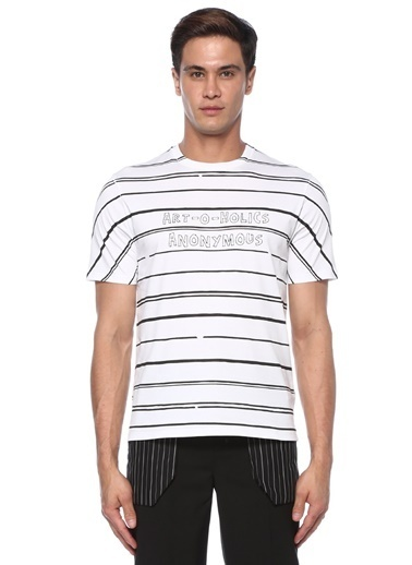 Neil Barrett Neil Barrett   Çizgi Desenli Slogan Baskılı T-shirt 101492002 Siyah